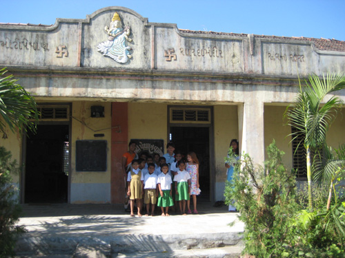 Outside the school entrance