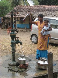 collecting water from the local well